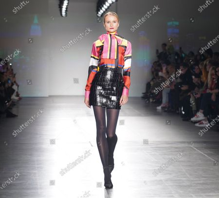 Stock Image of Elena Kurnosova walks runway for Zang Toi collection during Fashion Week at Pier 59