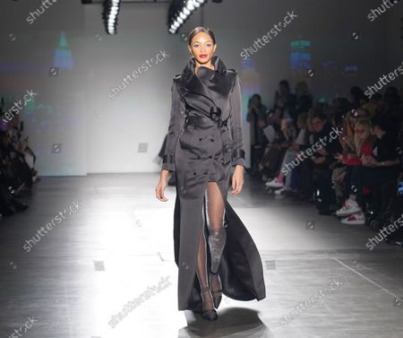 Stock Photo of Model walks runway for Zang Toi collection during Fashion Week at Pier 59