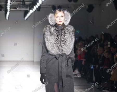 Model walks runway for Zang Toi collection during Fashion Week at Pier 59