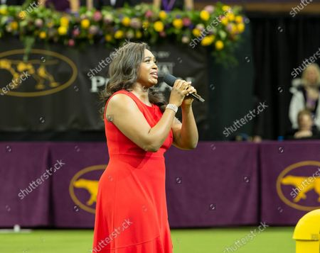 Metropolitan Opera singer Angel Blue performs National Anthem at 144th Westminster Kennel Club Dog Show at Madison Square Garden