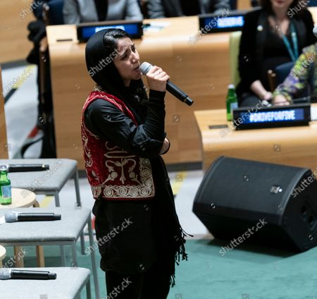 Stock Photo of Sonita Alizadeh sings at High-Level Event A Call to Action for the Education of Adolescent Girls at UN Headquarters