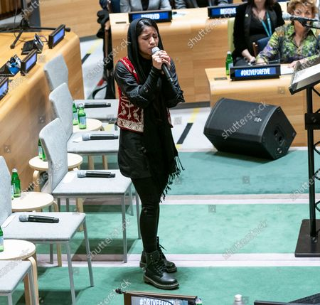 Stock Picture of Sonita Alizadeh sings at High-Level Event A Call to Action for the Education of Adolescent Girls at UN Headquarters