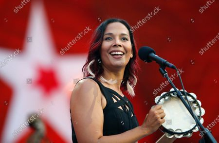 Rhiannon Giddens performs during rehearsal for the Boston Pops Fireworks Spectacular in Boston. The Grammy-winning musician is Silkroad's new artistic director, taking the baton from renowned cellist Yo-Yo Ma, who founded the group two decades ago, Silkroad said on Tuesday, July 28, 2020. The North Carolina native is the first woman and first multiracial artist to lead the Boston-based organization