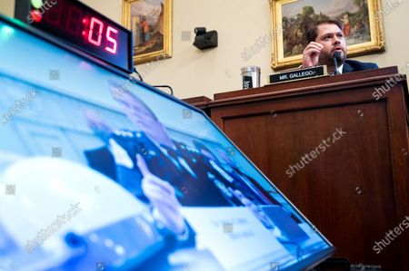 Rep. Ruben Gallego, D-Ariz., questions Gregory T. Monahan, Acting Chief US Park Police, during the House Natural Resources Committee hearing on 'Unanswered Questions About the US Park Police's June 1 Attack on Peaceful Protesters at Lafayette Square' in Washington, DC, USA, 28 July 2020.