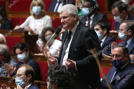 French Member of Parliament Olivier Falorni (C) during the weekly session of questions to the government at the National Assembly in Paris, France, 28 July 2020.