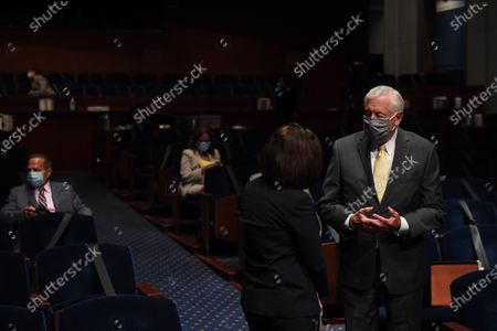 United States House Majority Leader Steny Hoyer (Democrat of Maryland) (in yellow tie) speaks with a member of the audience before US Attorney General William Barr appears before the US House Committee on the Judiciary on Capitol Hill in Washington D.C..