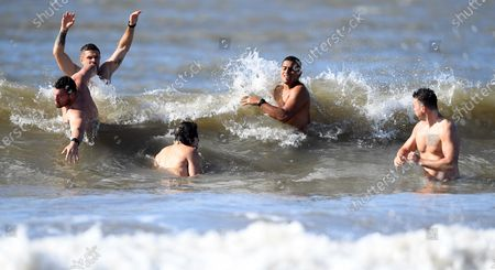Owen Lane, Lewis Jones, Lloyd Williams, Ben Thomas and Jason Harries during sea recovery session at Barry Island.