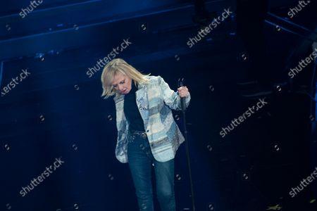 Rita Pavone, guest on the Domenica In program at the Ariston Theater in Sanremo.