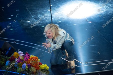 Stock Photo of Rita Pavone, guest on the Domenica In program at the Ariston Theater in Sanremo.