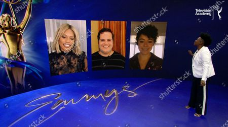 Leslie Jones welcomes her three co-presenters to help announce the 72 Emmy Awards Nominations, Laverne Cox, Josh Gad, and Tatiana Maslany, during the live streaming event on @ 8:30 AM PDT on Emmys.com