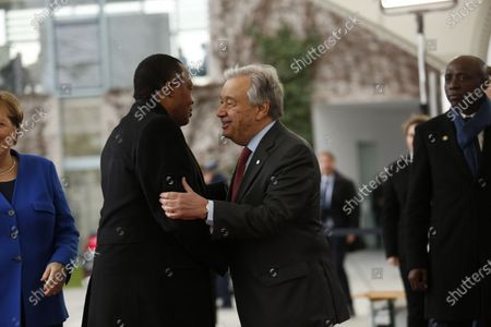 Chancellor Angela Merkel and UN Secretary General Antonio Guterres welcomes the Denis Sassou Nguesso, President of the Republic of the Congo, in the courtyard of the Federal Chancellery