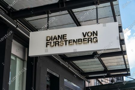 View of Diane von Furstenberg flagship store on 14th street, Manhattan. All but one store (pictured here) are closed and company shifts to become digital brand and focusing on China market. Majority of company staff were laid off.