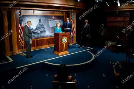 U.S. Senator Debbie Stabenow (D-MI) speaks at the Democratic Senate caucus weekly press conference.