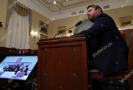 United States Representative Ruben Gallego (Democrat of Arizona) questions Gregory Monahan, acting chief of the U.S. Park Police National Park Police, as he testifies on the U.S. Park Police's June 1 confrontation with protesters at Lafayette Square during a House Natural Resources Committee hearing on Capitol Hill in Washington, U.S.,.