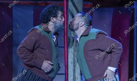 Actors Pepe Tous (L) and Pepon Nieto perform the play Amphitryon, by Moliere, in the framework of International Classic Theater Festival at the Roman Theater in Merida, western Spain, 28 July 2020 (issued 29 July 2020). The festival runs through to 23 August 2020.