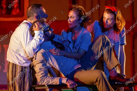 Pepon Nieto, Dani Muriel,Toni Acosta and Maria Ordonez perform in the play Amphitryon, by Moliere, in the framework of International Classic Theater Festival at the Roman Theater in Merida, western Spain, 28 July 2020 (issued 29 July 2020). The festival runs through to 23 August 2020.