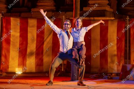 Actors Dani Muriel (L) and Toni Acosta perform in the play Amphitryon, by Moliere, in the framework of International Classic Theater Festival at the Roman Theater in Merida, western Spain, 28 July 2020 (issued 29 July 2020). The festival runs through to 23 August 2020.