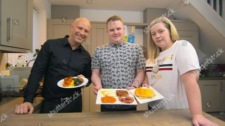 Stock Image of Top Chef Dale Pinnock with Craig and Becky Marshall: Dale hits the kitchen to give the family favourite cooked breakfast a facelift.
