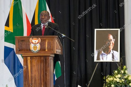 South African President Cyril Ramaphosa delivers the eulogy during the funeral service of South African anti-apartheid icon Andrew Mlangeni, in Soweto, South Africa, . Mlangeni, the last remaining survivor of the historic Rivonia Trial that sentenced activists like Nelson Mandela to life imprisonment, died last week aged 95