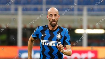 Inter Milan's Borja Valero controls the ball during the Serie A soccer match between Inter Milan and Napoli at the San Siro Stadium, in Milan, Italy