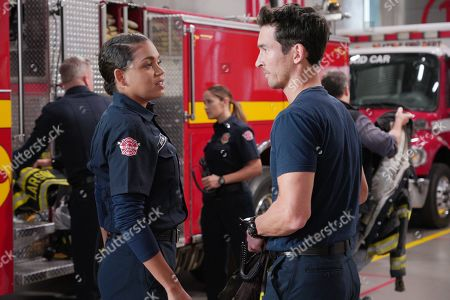 Stock Image of Barrett Doss as Victoria Hughes and Jay Hayden as Travis Montgomery