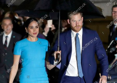 Prince Harry and Meghan, the Duke and Duchess of Sussex arrive at the annual Endeavour Fund Awards in London on March 5, 2020. A judge in London on is hearing the latest stage in the Duchess of Sussex's privacy-infringement lawsuit against a British newspaper, as Meghan tries to keep the names of five of her friends out of the public eye. The former Meghan Markle is suing the publisher of the Mail on Sunday at Britain's High Court over five articles that published portions of a handwritten letter she wrote to her estranged father, Thomas Markle