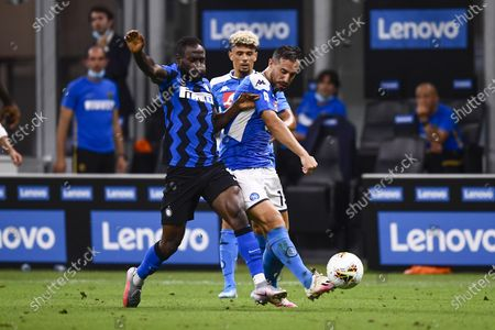 "Nikola Maksimovic (Napoli)  Victor Moses (Inter)                  during the Italian ""Serie A"" match between Inter 2-0 Napoli at Giuseppe Meazza Stadium in Milano, Italy."
