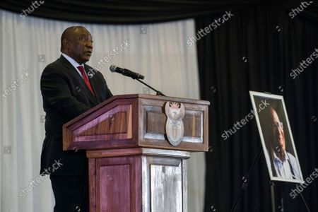 Stock Image of South African President Cyril Ramaphosa delivers the eulogy during  the funeral service for ANC stalwart  Andrew Mlangeni in Soweto, Johannesburg, South Africa, 29 July 2020. Mlangeni died at the age of 95 last week after he was hospitalized following an abdominal complaint. Mlangeni was sentenced to life in prison on Robben Island on charges of treason and sabotage on 12 June 1964, and was released in 1989 after negotiations with the apartheid government started.