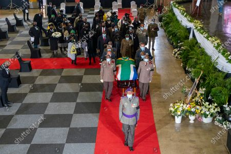 Stock Picture of The flagged draped coffin of ANC stalwart  Andrew Mlangeni leaves the funeral service in Soweto, Johannesburg, South Africa, 29 July  2020. Mlangeni died at the age of 95 last week after he was hospitalized following an abdominal complaint. Mlangeni was sentenced to life in prison on Robben Island on charges of treason and sabotage on 12 June 1964, and was released in 1989 after negotiations with the apartheid government started.