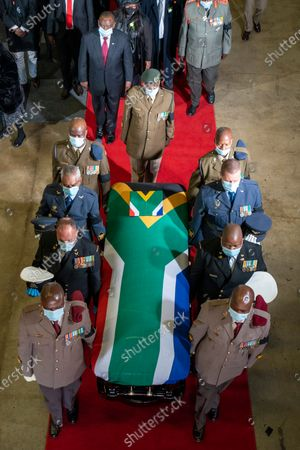 The flagged draped coffin of ANC stalwart  Andrew Mlangeni leaves the funeral service in Soweto, Johannesburg, South Africa, 29 July  2020. Mlangeni died at the age of 95 last week after he was hospitalized following an abdominal complaint. Mlangeni was sentenced to life in prison on Robben Island on charges of treason and sabotage on 12 June 1964, and was released in 1989 after negotiations with the apartheid government started.