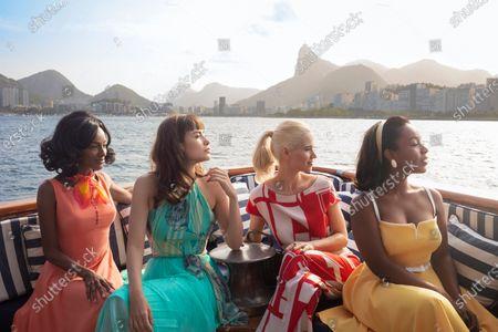 Stock Image of Pathy Dejesus as Adelia Araujo, Maria Casadevall as Malu (Maria Luíza Carone), Mel Lisboa as Thereza Soares and Larissa Nunes as Ivone Araujo