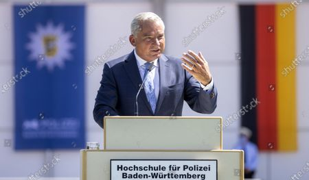 Minister of the Interior, Digitisation and Migration for Baden-Wuerttemberg state Thomas Strobl speaks during the swearing-in ceremony for Police academy graduates in Biberach, Germany, 29  July 2020. According to the Ministry of the Interior, around 175 police officers are being sworn in today in Baden-Wuerttemberg state.