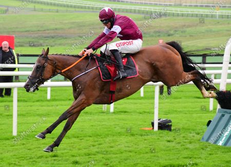Galway THE VERY MAN & Davy Russell jump the last to win the Tote Jackpot Novice Hurdle.