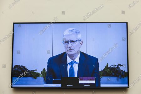 Apple CEO Tim Cook speaks via video conference during a House Judiciary subcommittee hearing on antitrust on Capitol Hill, in Washington