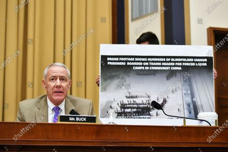 """Stock Picture of United States Representative Ken Buck (Republican of Colorado), speaks during the House Judiciary Subcommittee on Antitrust, Commercial and Administrative Law hearing on """"Online Platforms and Market Power"""" in the Rayburn House office Building on Capitol Hill in Washington, DC."""