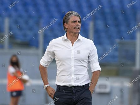 Brescia's head coach Diego Lopez reacts during Italian Serie A soccer match between SS Lazio and Brescia Calcio at Olimpico Stadium in Rome,29 July 2020.
