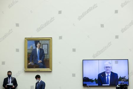 """Stock Picture of Apple CEO Tim Cook testifies via video conference during an Antitrust, Commercial and Administrative Law Subcommittee hearing, on Capitol Hill, in Washington,, on """"Online platforms and market power. Examining the dominance of Amazon, Facebook, Google and Apple"""""""