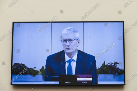 """Stock Image of Apple CEO Tim Cook speaks via video conference during an Antitrust, Commercial and Administrative Law Subcommittee hearing, on Capitol Hill, in Washington,, on """"Online platforms and market power. Examining the dominance of Amazon, Facebook, Google and Apple"""""""