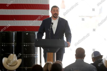Double Eagle Energy co-CEO Cody Campbell make remarks before introducing President Donald Trump who made remarks about American energy production during a visit to the Double Eagle Energy Oil Rig, in Midland, Texas