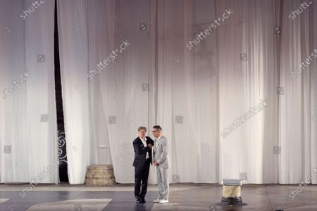 Gregor Bloeb as Jedermanns guter Gesell (Everyman's Good Companion/Devil) (R) and Austrian actor Tobias Moretti as Jedermann (Everyman) (L) perform on stage during a rehearsal of Hugo von Hofmannsthal's Jedermann (Everyman) at the Domplatz square in Salzburg, Austria, 29 July 2020. The play Jedermann is one of the highlights of the 110th Salzburg festival, which will run shortened form, due to the coronavirus COVID-19 pandemic, from 01 to 30 August 2020.