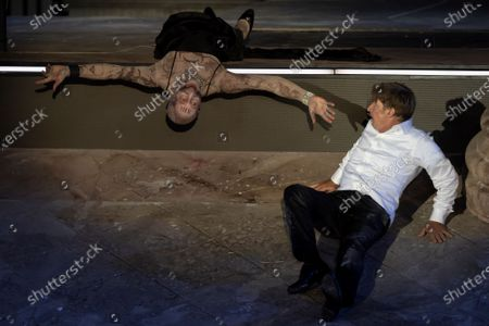 Peter Lohmeyer as Tod (Death) (L) and Austrian actor Tobias Moretti as Jedermann (Everyman) (R) perform on stage during a rehearsal of Hugo von Hofmannsthal's Jedermann (Everyman) at the Domplatz square in Salzburg, Austria, 29 July 2020. The play Jedermann is one of the highlights of the 110th Salzburg festival, which will run shortened form, due to the coronavirus COVID-19 pandemic, from 01 to 30 August 2020.