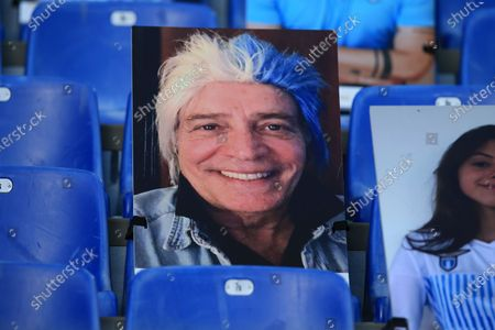 The cardboard with the face of the comedian Enrico Montesano on the stand of Stadio Olimpico during the Serie A Tim match between SS Lazio and Brescia Calcio  on July 29, 2020 in Rome, Italy.