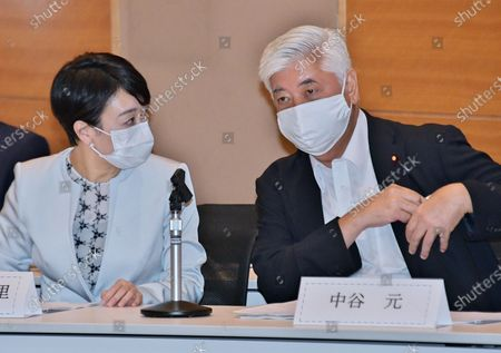 Stock Image of Former Japan's Defense of Minister Gen Nakatani and member of the House of Representatives, Shiori Yamao attend the initial meeting of Japan Parliamentary Alliance on China (JPAC) at the Lower House Diet Members' Office Building in Tokyo, Japan.
