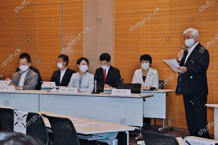 Stock Picture of Former Japan's Defense of Minister Gen Nakatani speaks during the initial meeting of Japan Parliamentary Alliance on China (JPAC) at the Lower House Diet Members' Office Building in Tokyo, Japan.