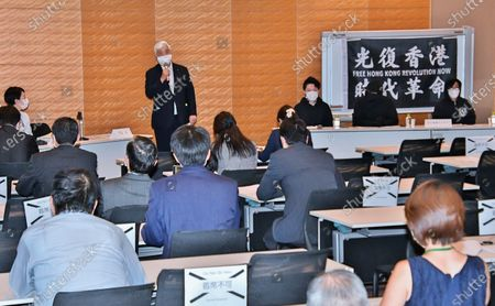 Former Japan's Defense of Minister Gen Nakatani speaks during the initial meeting of Japan Parliamentary Alliance on China (JPAC) at the Lower House Diet Members' Office Building in Tokyo, Japan.