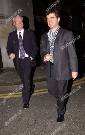 Chris Smith (now Baron Smith Of Finsbury) Mp And Friend Dorian Jabri Leave.......guests Arrive And Depart At The Party To Celebrate The Wedding Of Ross Kemp To Rebekah Wade Held At The Kensington Roof Gardens. Lord Chris Smith.
