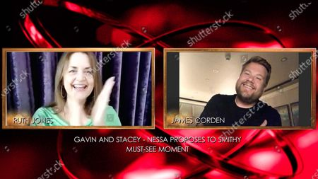 Stock Photo of Ruth Jones and James Corden Ð Virgin Media Must See Moment Ð 'Gavin and Stacey, Nessa Proposes to Smithy'