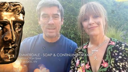 Jeff Hordley & Zoe Henry accept the Soap & Continuing Drama award for Emmerdale