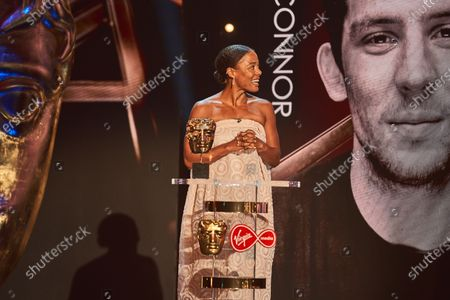 Nina Toussaint-White presents the Supporting Actor award