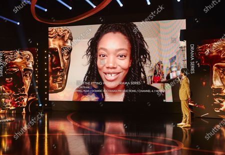 Naomi Ackie accepts the Drama Series award for The End of the F***ing World